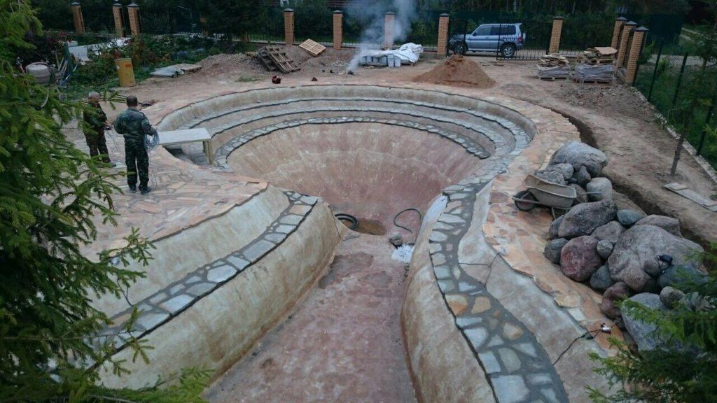 Гидроизоляция пруда бетономатоми Москва