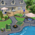 строительство бассейна с ландшафтным дизайном